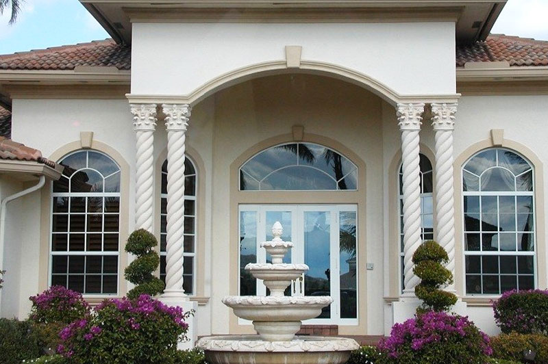 4 Tier Fountain & 4 Roped Corinthian capped Column done by Artistic Statue in Pompano Beach Fl