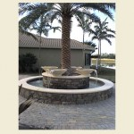 4 Scupper Bowl fountains pouring elegantly into a pool