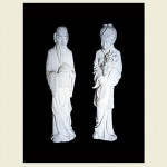 Concrete Statues of a traditional Japanese Man & Japanese Woman
