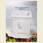 Square Concrete Pot With Lion Head Design