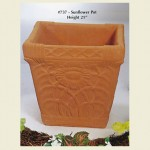 Concrete Pot with sunflower design