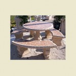 Tiled concrete table set that comes with 3 curved benches