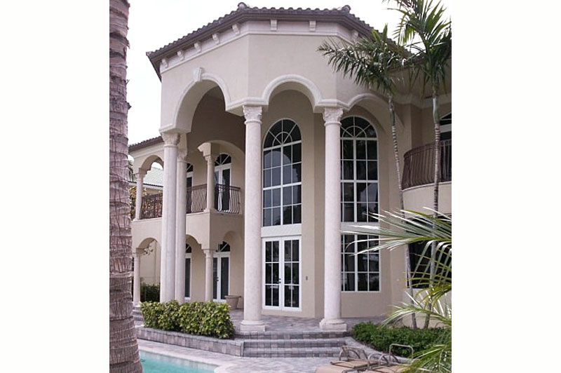 Custom made columns two stories in length installed by Artistic Statuary in Pompano Beach Fl