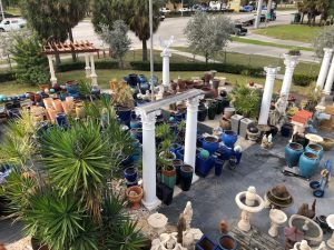 Ceramic Pottery, columns, and statues on display at Artistic Statuary in Pompano Beach Fl
