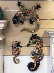 Hand Painted Mexican Talavera Animals. A large and small seahorse & a lizard.