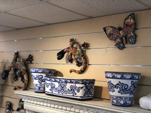 Hand painted Mexican Talavera Pots & handpainted butterflies and salamanders.